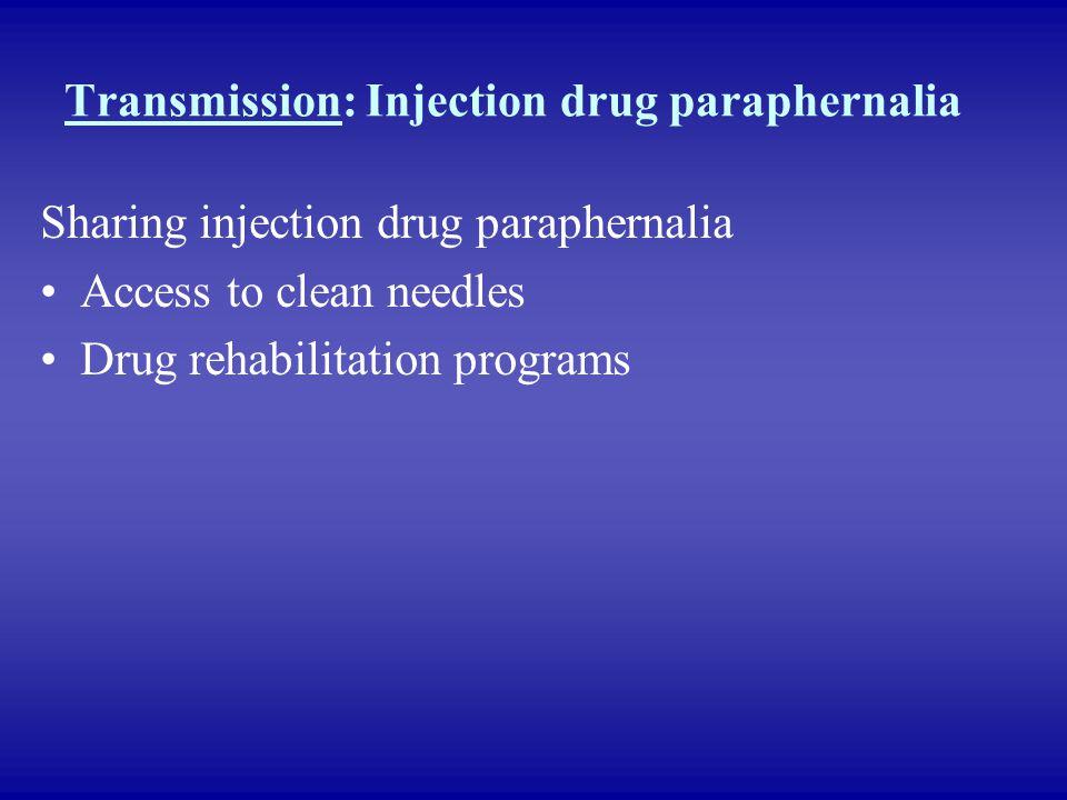 Transmission: Injection drug paraphernalia Sharing injection drug paraphernalia Access to clean needles Drug rehabilitation programs