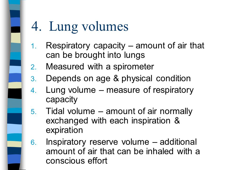 4. Lung volumes 1. Respiratory capacity – amount of air that can be brought into lungs 2. Measured with a spirometer 3. Depends on age & physical cond