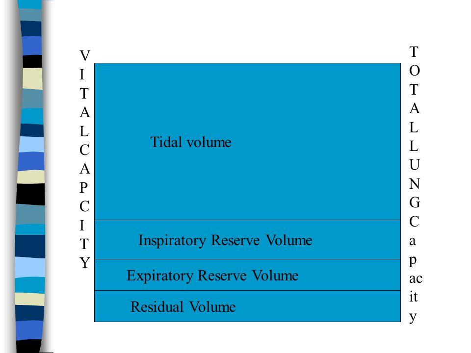 Tidal volume Inspiratory Reserve Volume Expiratory Reserve Volume Residual Volume VITALCAPCITYVITALCAPCITY T O T A L L U N G C a p ac it y