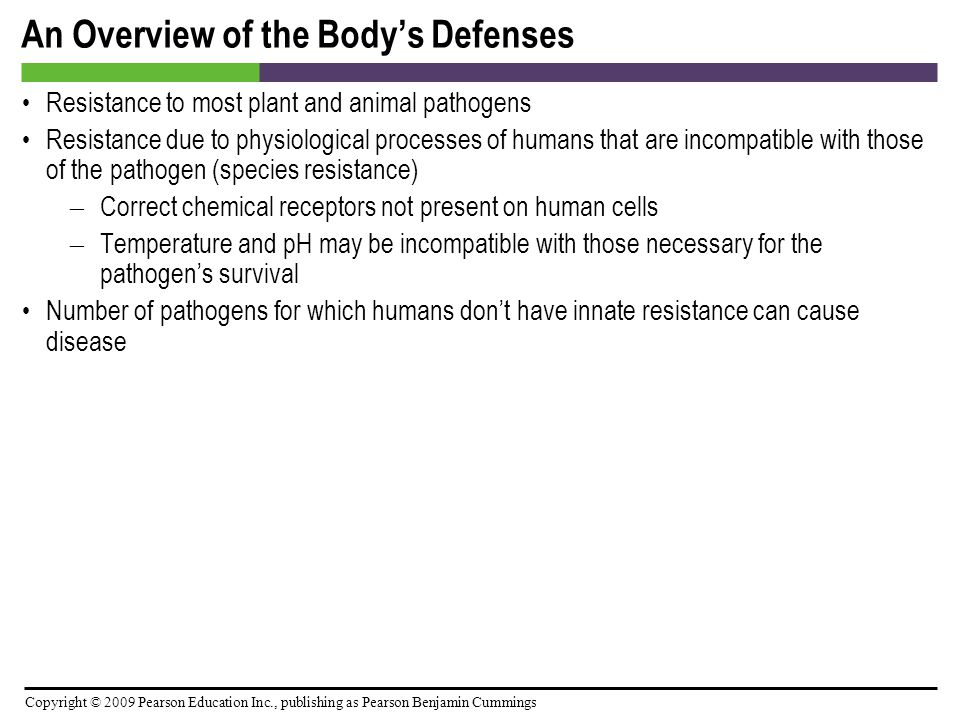 Copyright © 2009 Pearson Education Inc., publishing as Pearson Benjamin Cummings The Body's Second Line of Defense [INSERT FIGURE: 15.7]