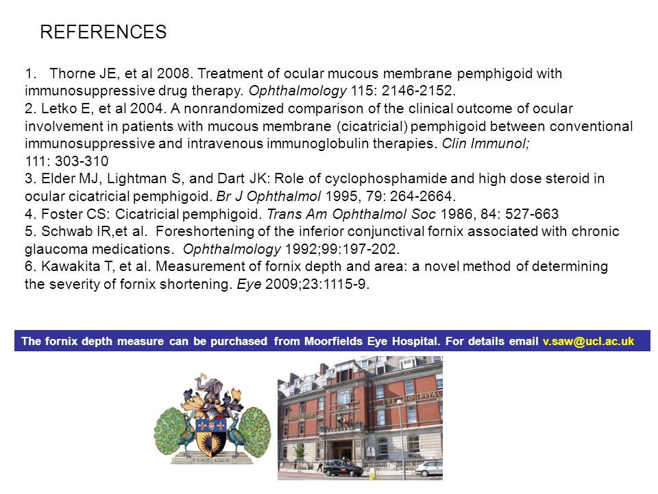 REFERENCES 1.Thorne JE, et al 2008. Treatment of ocular mucous membrane pemphigoid with immunosuppressive drug therapy. Ophthalmology 115: 2146-2152.