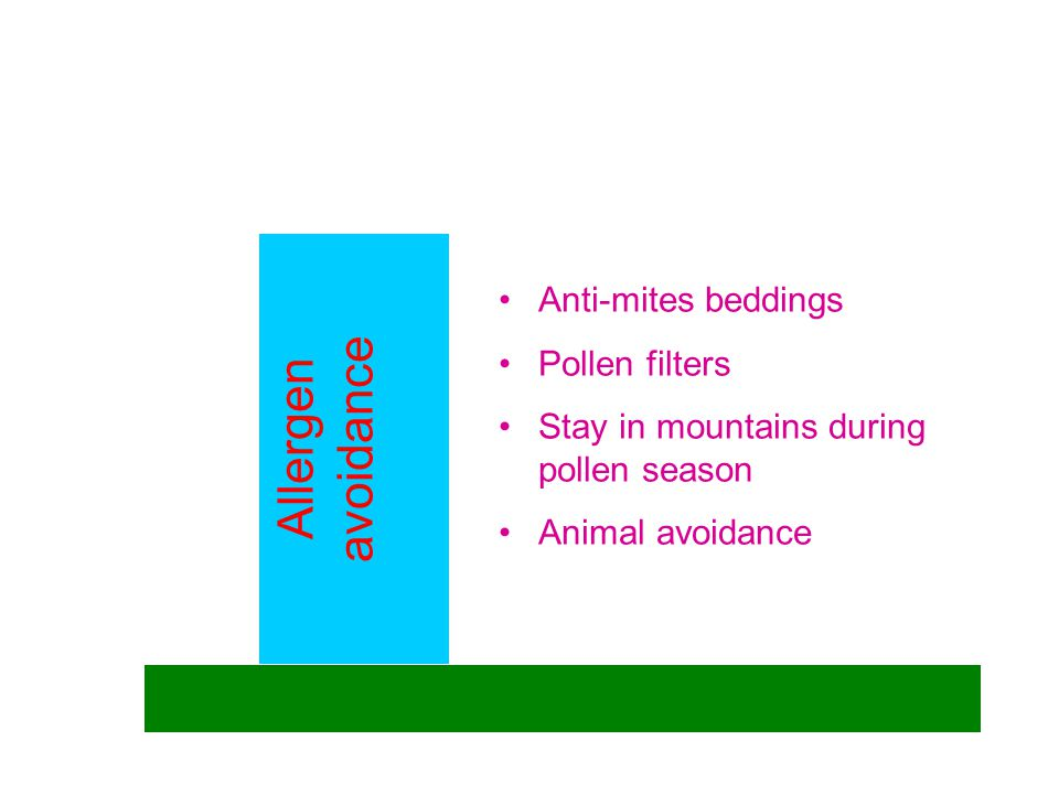 Allergen avoidance Anti-mites beddings Pollen filters Stay in mountains during pollen season Animal avoidance
