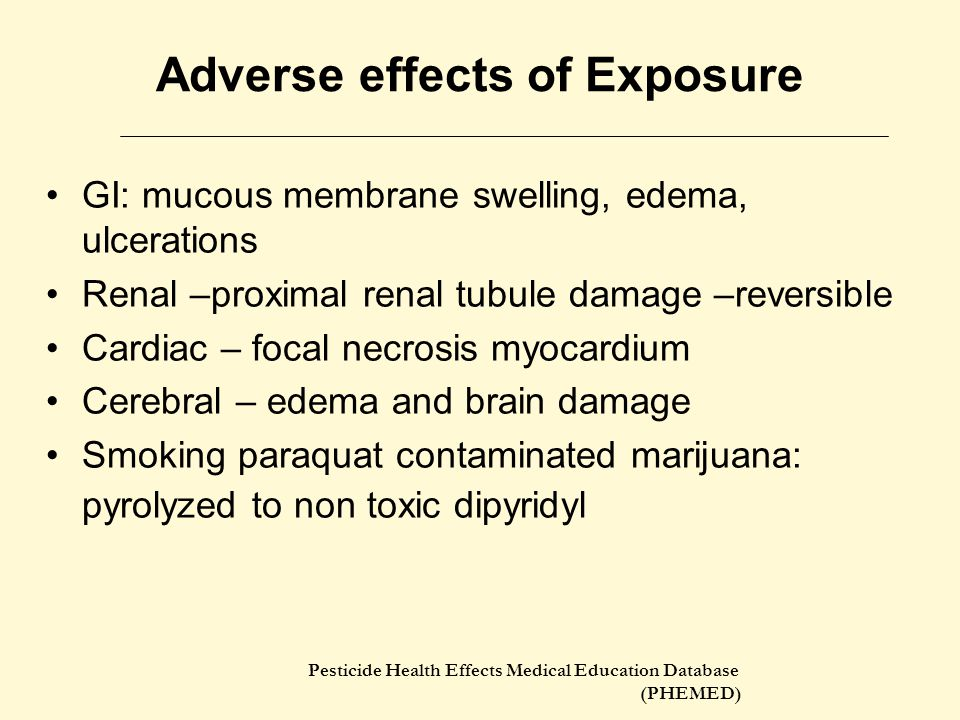 Pesticide Health Effects Medical Education Database (PHEMED) Toxicology (Skin) Local skin damage  contact dermatitis Prolonged contact  blisters, abrasion, ulcerations, finger nail changes Slow absorption via intact skin Abraded or eroded skin absorption efficient