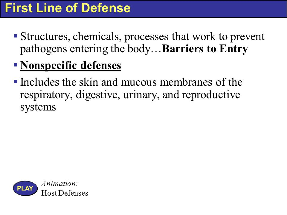 A Summary of Some Nonspecific Components of the First and Second Lines of Defense Table 15.5