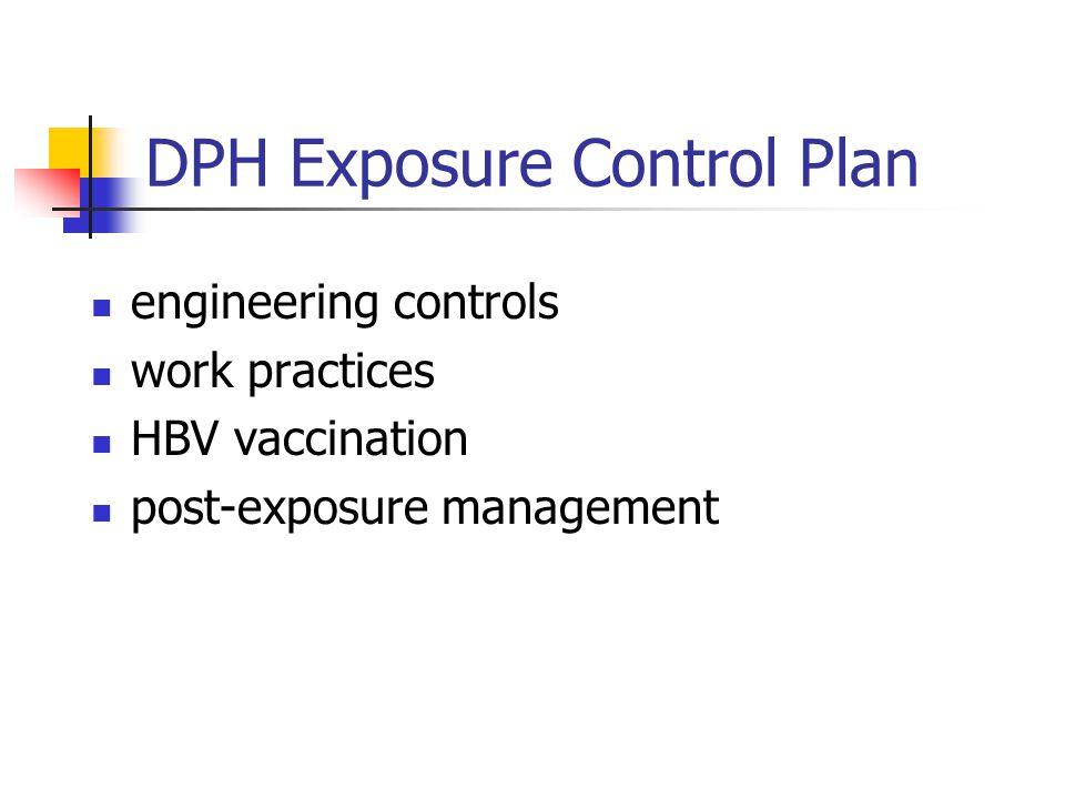 DPH Exposure Control Plan engineering controls work practices HBV vaccination post-exposure management