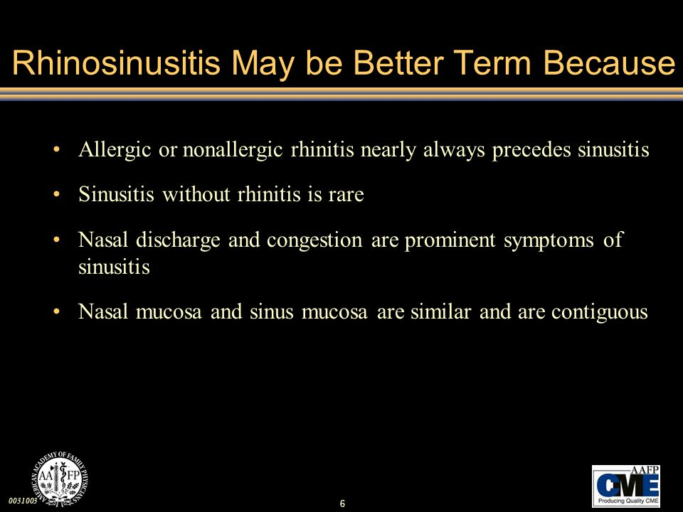 0031003 67 Complications of Sinusitis Orbital –Diplopia, proptosis –Periorbital erythema, swelling Bone –Periosteal abscesses Brain –Intracranial abscesses causing neurologic symptoms