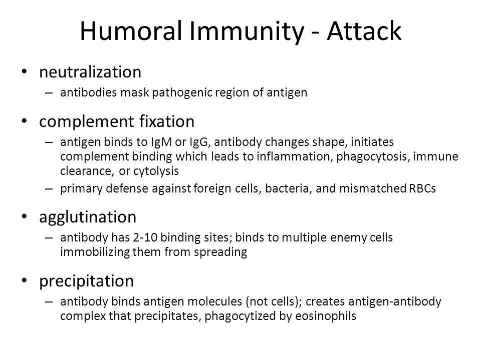 Humoral Immunity - Attack neutralization – antibodies mask pathogenic region of antigen complement fixation – antigen binds to IgM or IgG, antibody ch