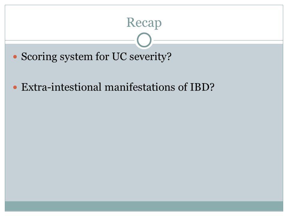 Recap Scoring system for UC severity? Extra-intestional manifestations of IBD?