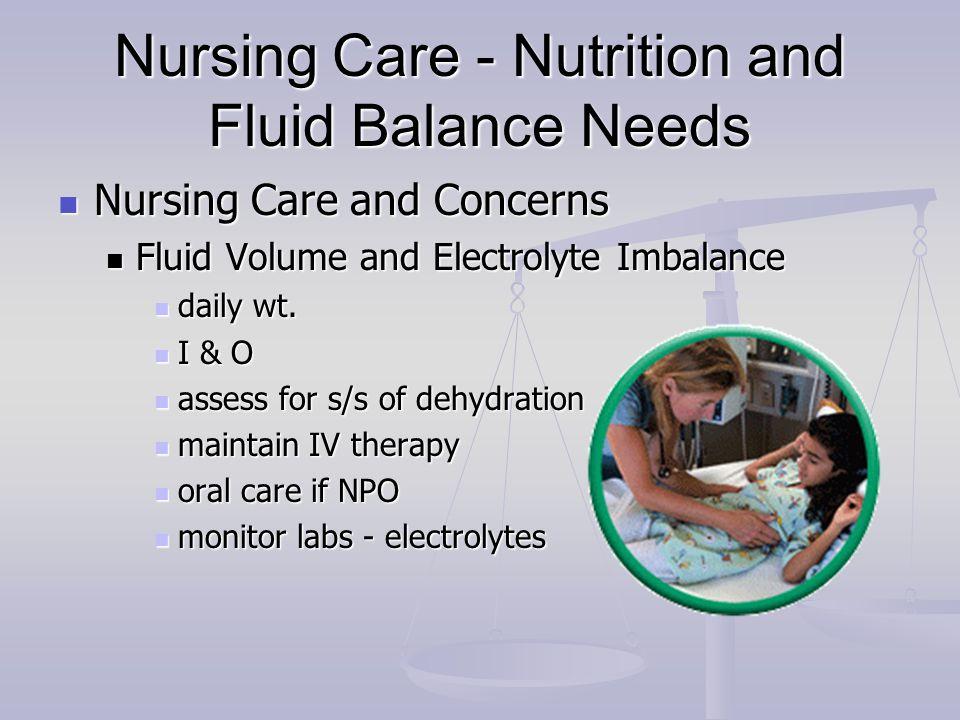 Nursing Care - Nutrition and Fluid Balance Needs Nursing Care and Concerns Nursing Care and Concerns Fluid Volume and Electrolyte Imbalance Fluid Volu