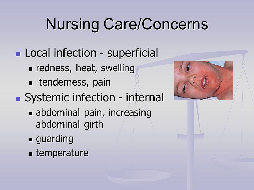 Nursing Care/Concerns Local infection - superficial Local infection - superficial redness, heat, swelling redness, heat, swelling tenderness, pain ten
