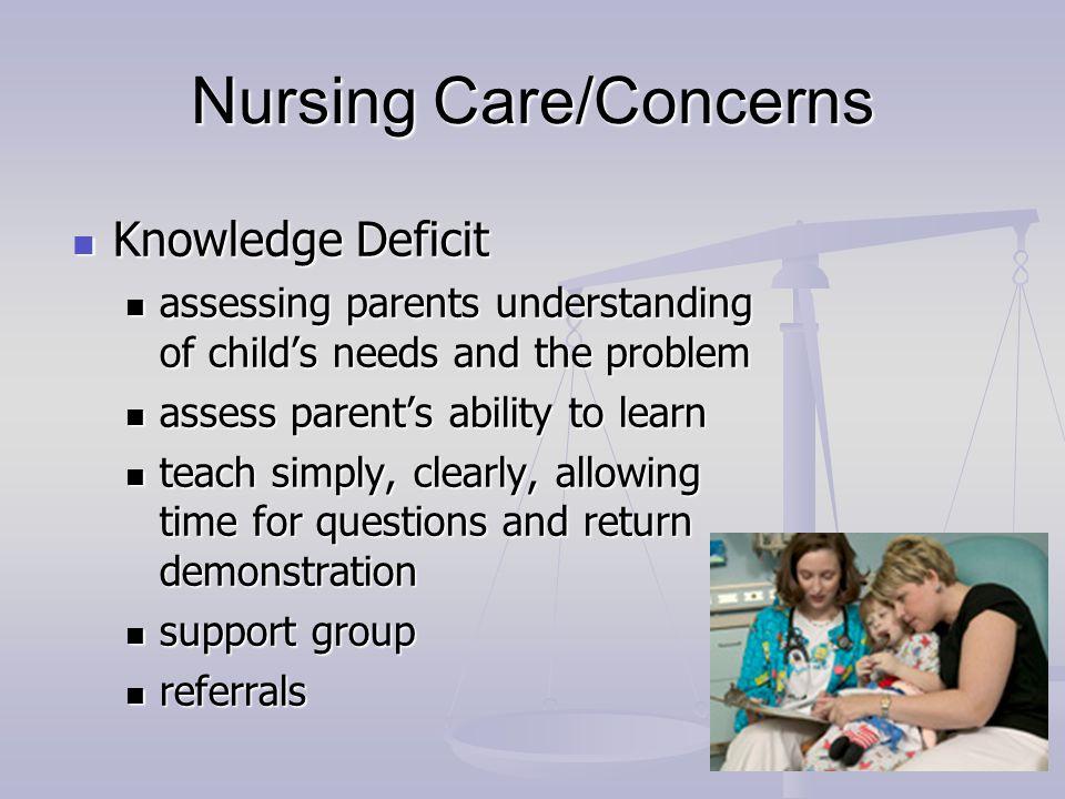 Nursing Care/Concerns Knowledge Deficit Knowledge Deficit assessing parents understanding of child's needs and the problem assessing parents understan