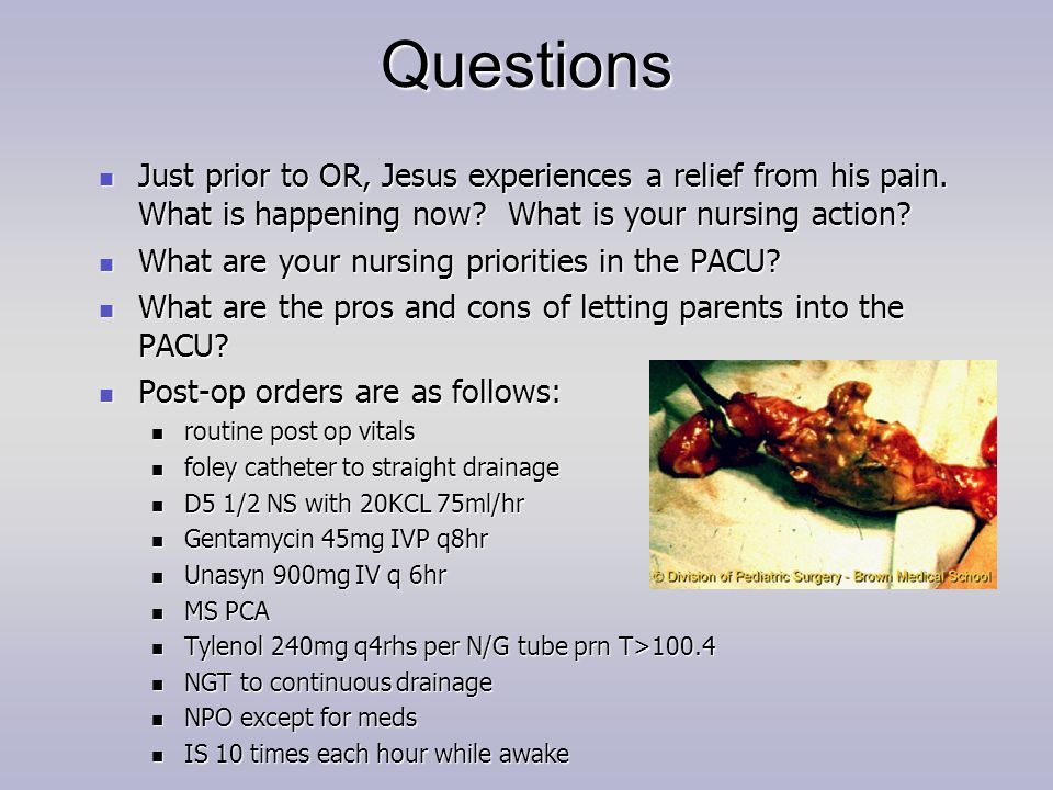 Questions Just prior to OR, Jesus experiences a relief from his pain. What is happening now? What is your nursing action? Just prior to OR, Jesus expe