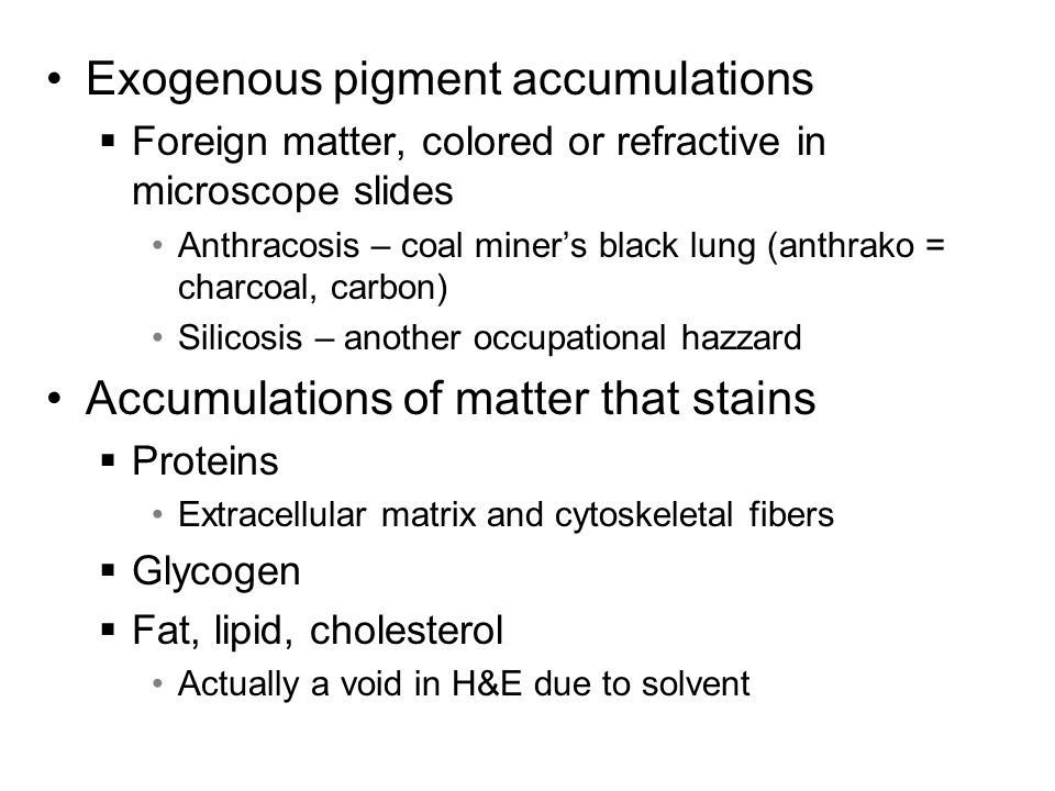Exogenous pigment accumulations  Foreign matter, colored or refractive in microscope slides Anthracosis – coal miner's black lung (anthrako = charcoa