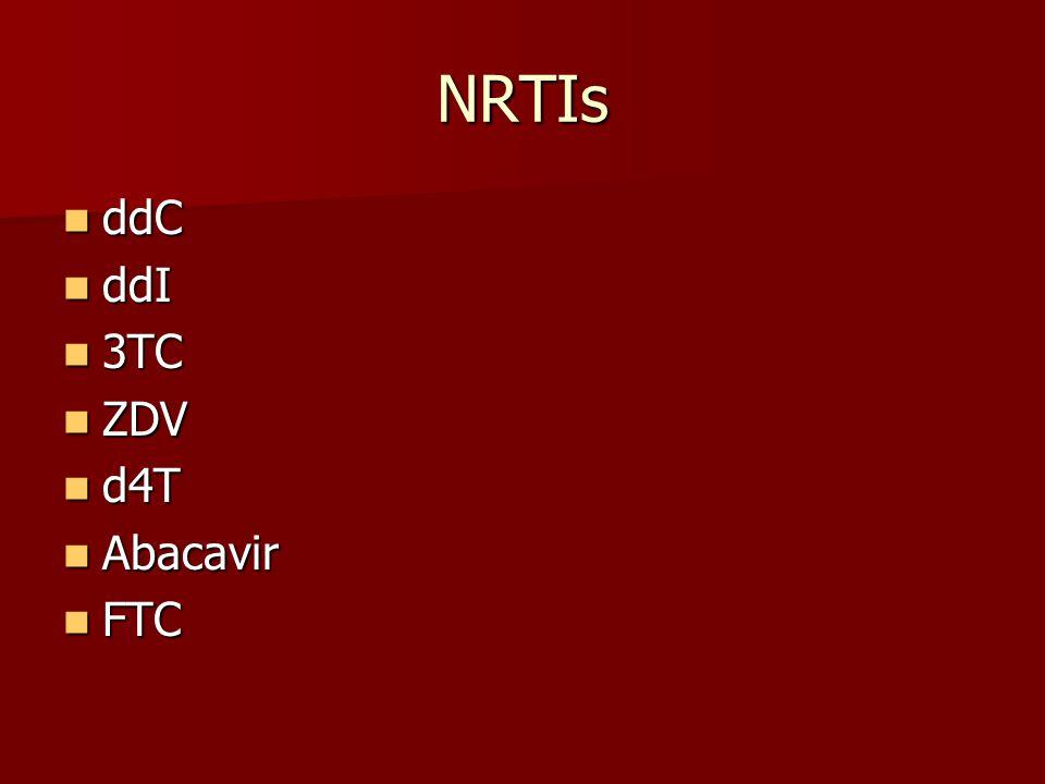 NRTIs ddC ddC ddI ddI 3TC 3TC ZDV ZDV d4T d4T Abacavir Abacavir FTC FTC