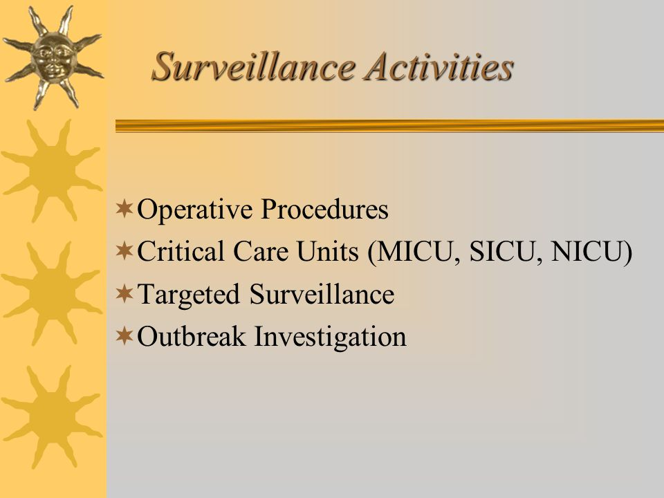 Surveillance Activities  Operative Procedures  Critical Care Units (MICU, SICU, NICU)  Targeted Surveillance  Outbreak Investigation