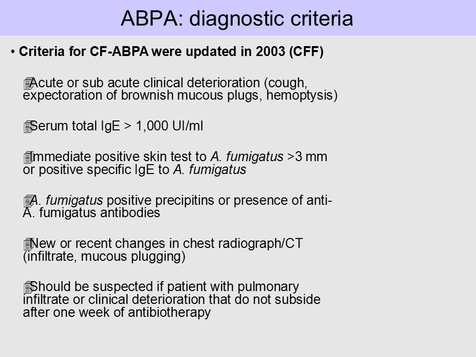 ABPA project: Summary and future directions High unmet needs for blood assays to both diagnose and monitor response to therapy and for new targeted therapies in patients with CF-ABPA Our blood basophil CD203c assay could improve: - the diagnosis of ABPA in Cf patients (CD203c following ex vivo stimulation) - the monitoring of responses to therapy Most important : FAST, SAFE, EASY, REPRODUCIBLE, appropriate for all ages,