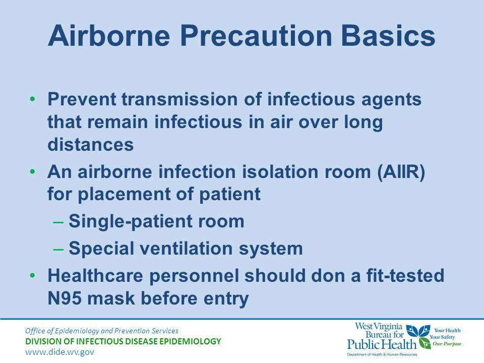 Office of Epidemiology and Prevention Services DIVISION OF INFECTIOUS DISEASE EPIDEMIOLOGY www.dide.wv.gov Airborne Precaution Basics Prevent transmis