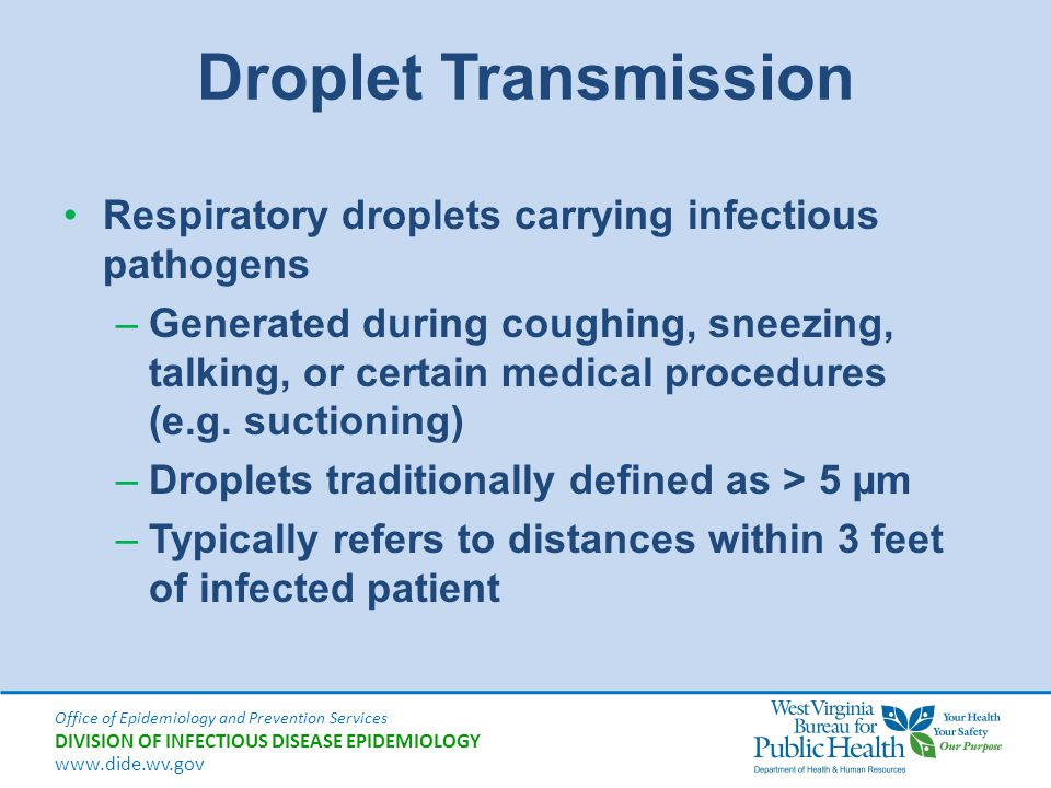 Office of Epidemiology and Prevention Services DIVISION OF INFECTIOUS DISEASE EPIDEMIOLOGY www.dide.wv.gov Droplet Transmission Respiratory droplets c