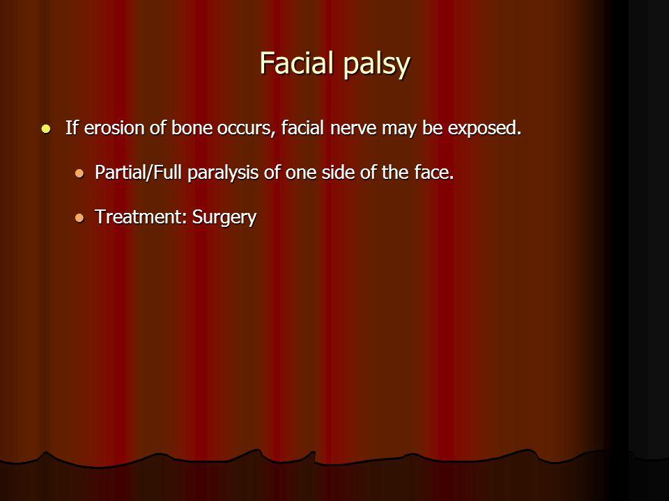 Facial palsy If erosion of bone occurs, facial nerve may be exposed. If erosion of bone occurs, facial nerve may be exposed. Partial/Full paralysis of
