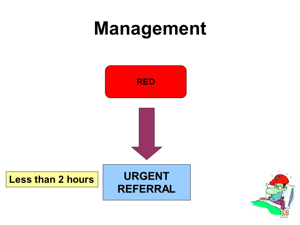Management RED URGENT REFERRAL Less than 2 hours