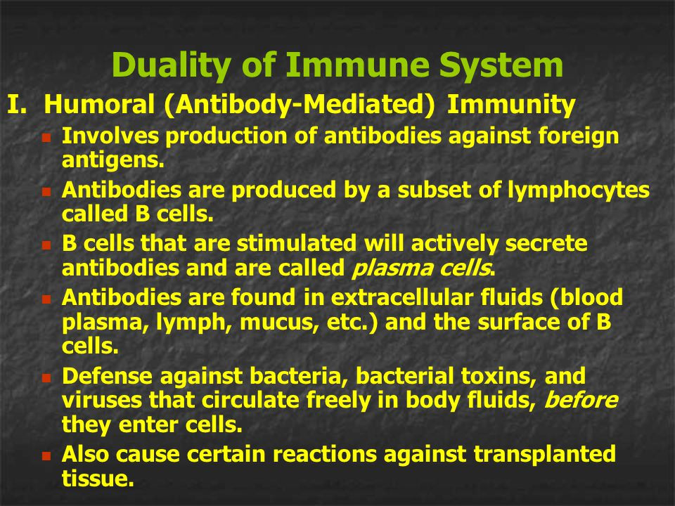Duality of Immune System I. Humoral (Antibody-Mediated) Immunity Involves production of antibodies against foreign antigens. Antibodies are produced b