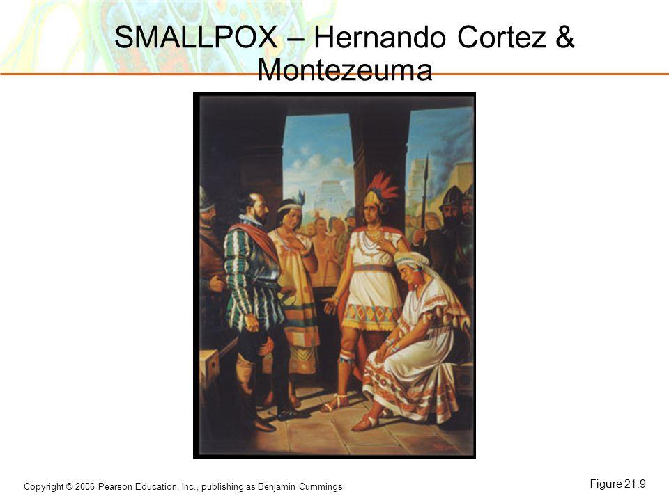 Copyright © 2006 Pearson Education, Inc., publishing as Benjamin Cummings SMALLPOX – Hernando Cortez & Montezeuma Figure 21.9