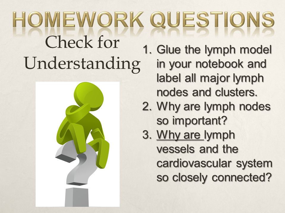 Check for Understanding 1.Glue the lymph model in your notebook and label all major lymph nodes and clusters.