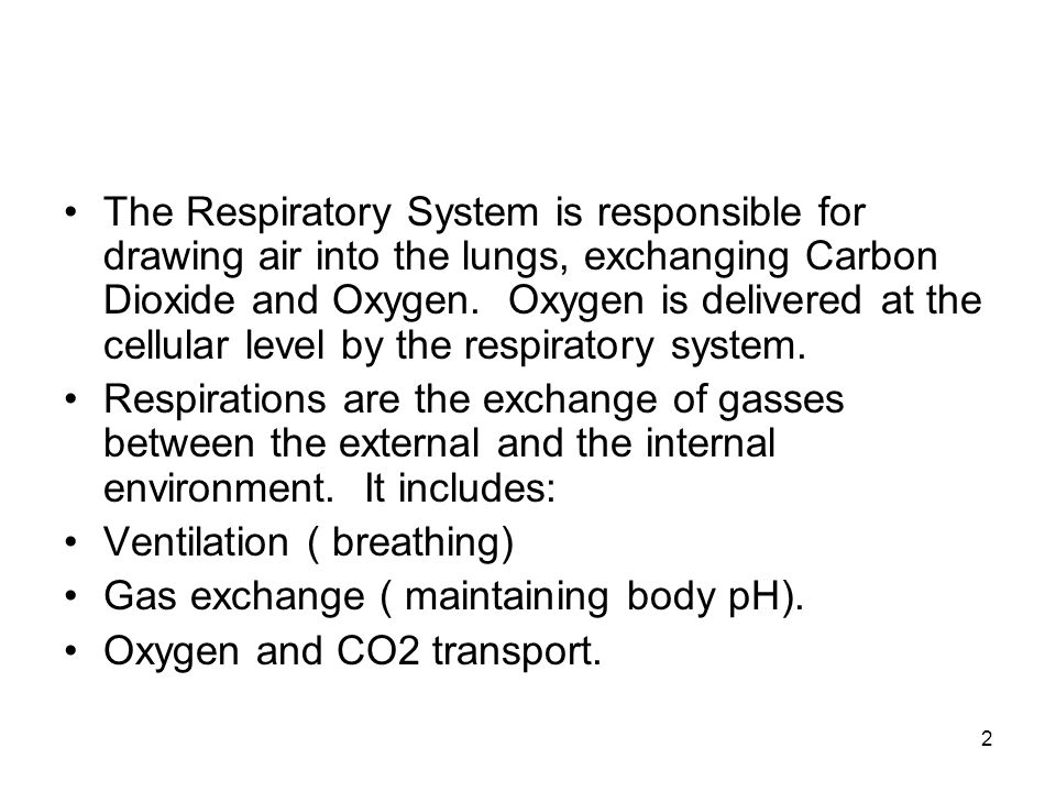 2 The Respiratory System is responsible for drawing air into the lungs, exchanging Carbon Dioxide and Oxygen. Oxygen is delivered at the cellular leve