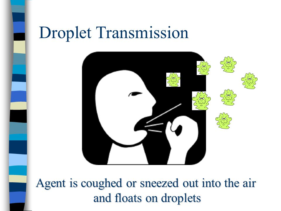 Droplet Transmission Agent is coughed or sneezed out into the air and floats on droplets