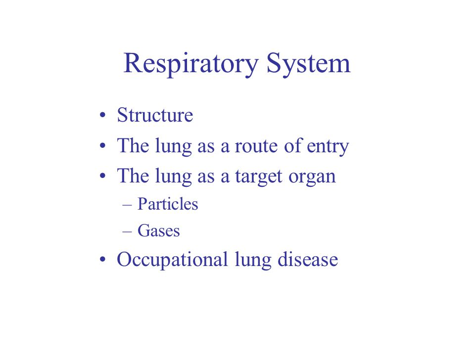 Respiratory sensitisation Occupational asthma –Inflammation and allergic constriction of bronchi –Narrowing of airways and increased mucus production –Tight chest, breathlessness, wheezing, difficulty breathing out –Allergic reaction often occurs after repeated exposure after which the person becomes sensitised to very low exposure levels Respiratory sensitisers include –Isocyanates –Solder fumes –Some metals (e.g.