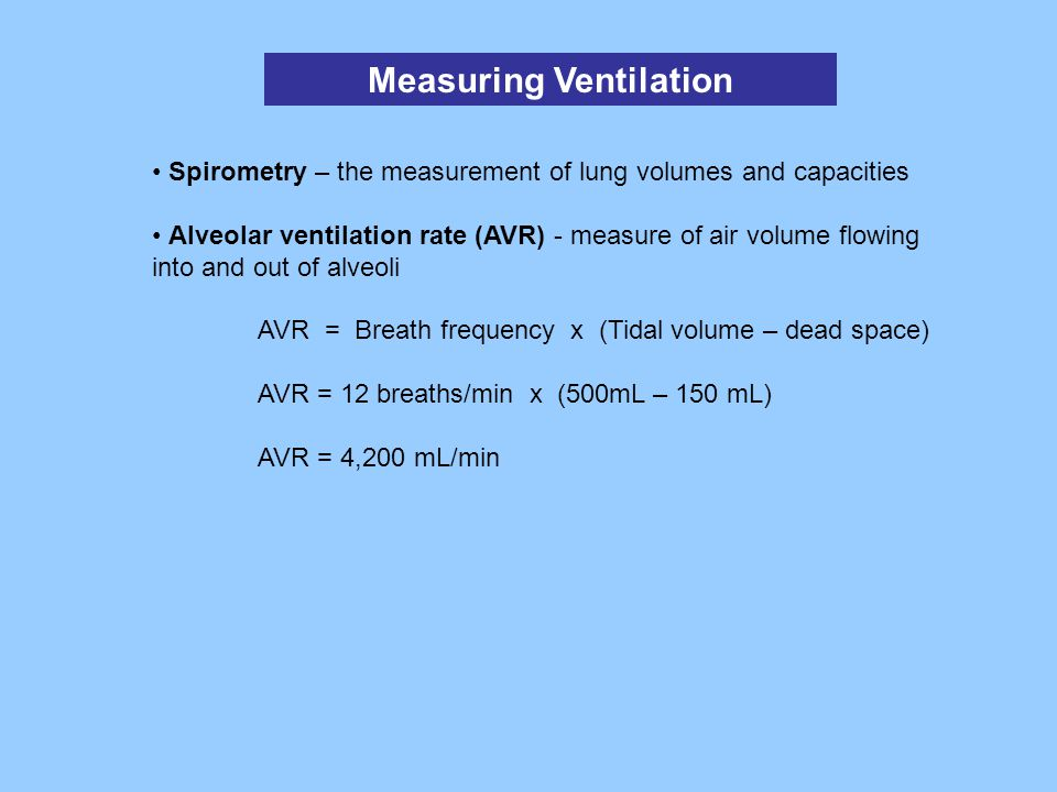 Measuring Ventilation Spirometry – the measurement of lung volumes and capacities Alveolar ventilation rate (AVR) - measure of air volume flowing into
