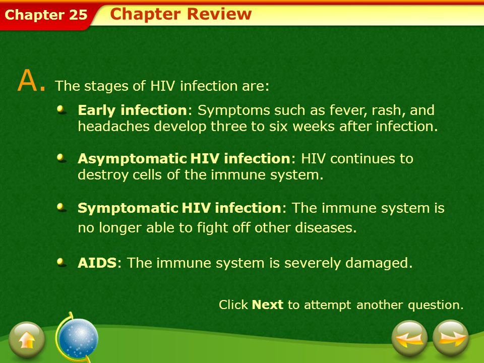 Chapter 25 Chapter Review A. The stages of HIV infection are: Early infection: Symptoms such as fever, rash, and headaches develop three to six weeks