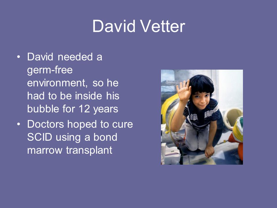 David Vetter David needed a germ-free environment, so he had to be inside his bubble for 12 years Doctors hoped to cure SCID using a bond marrow trans