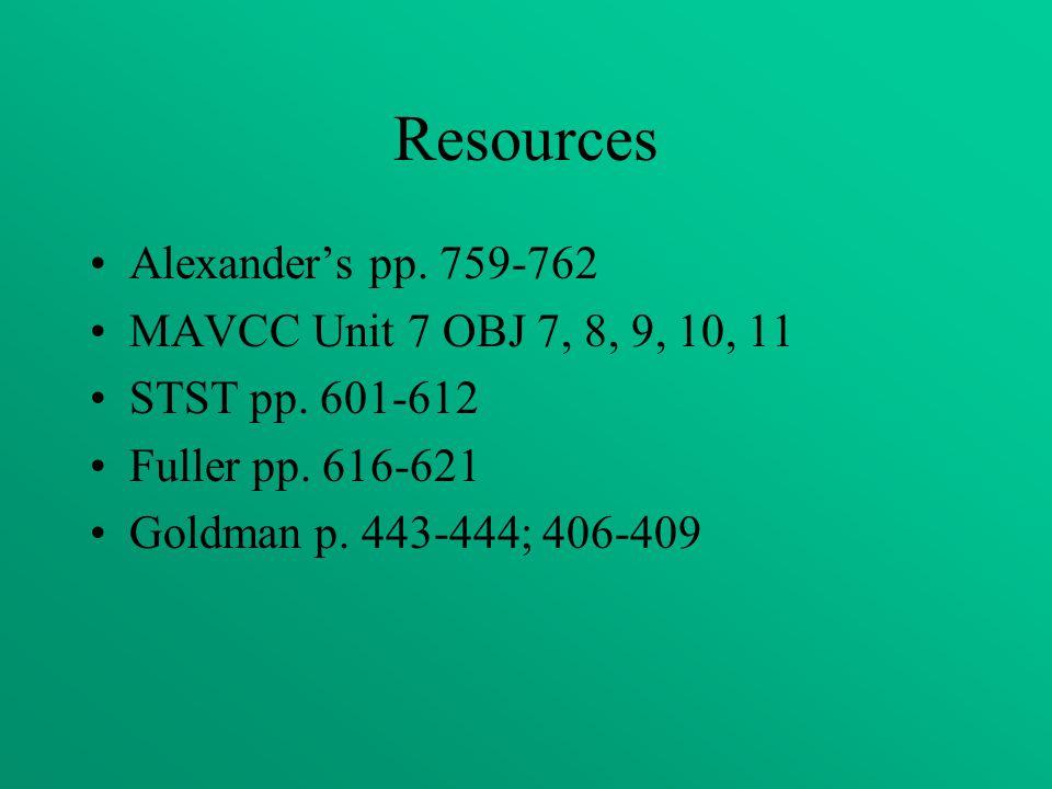 Resources Alexander's pp. 759-762 MAVCC Unit 7 OBJ 7, 8, 9, 10, 11 STST pp. 601-612 Fuller pp. 616-621 Goldman p. 443-444; 406-409