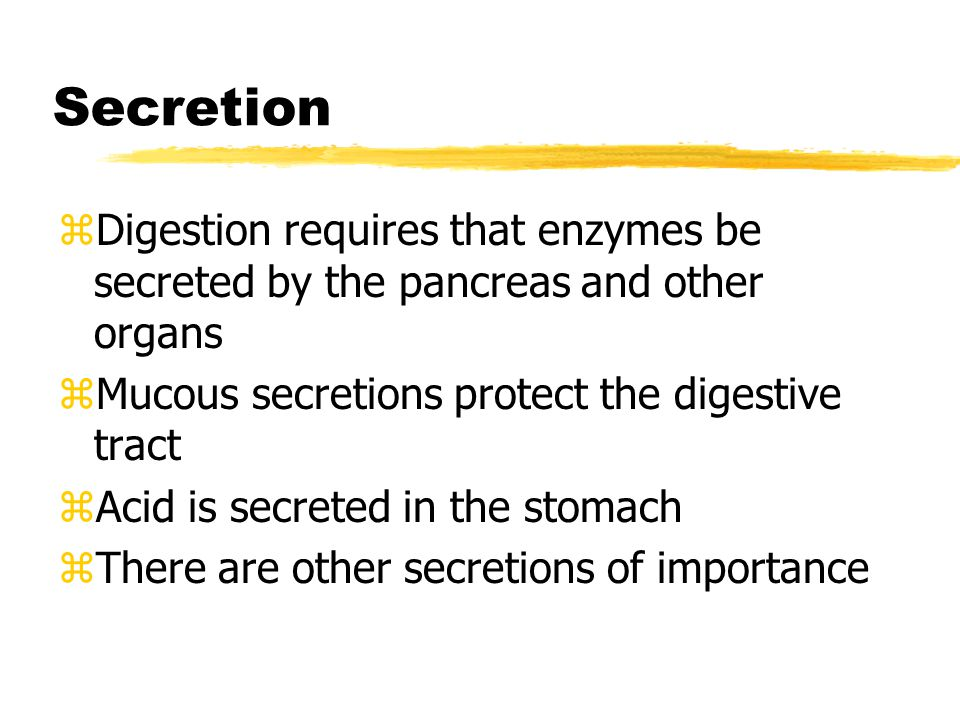 Secretion zDigestion requires that enzymes be secreted by the pancreas and other organs zMucous secretions protect the digestive tract zAcid is secreted in the stomach zThere are other secretions of importance