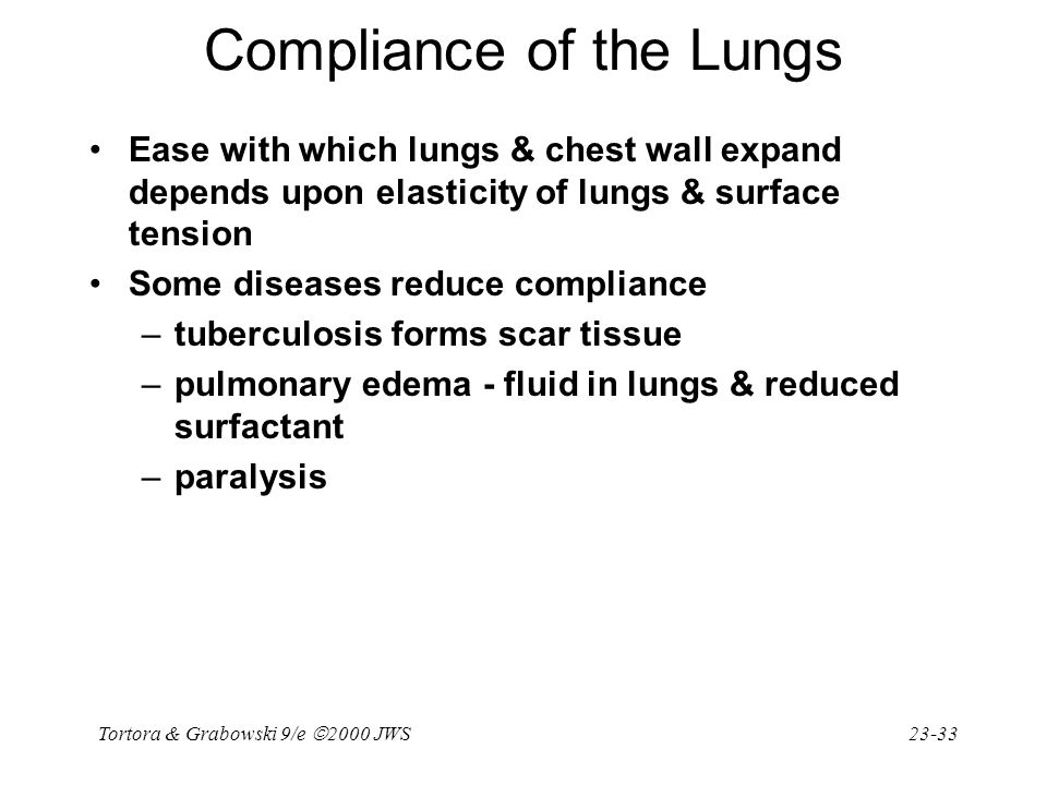 Tortora & Grabowski 9/e  2000 JWS 23-33 Compliance of the Lungs Ease with which lungs & chest wall expand depends upon elasticity of lungs & surface