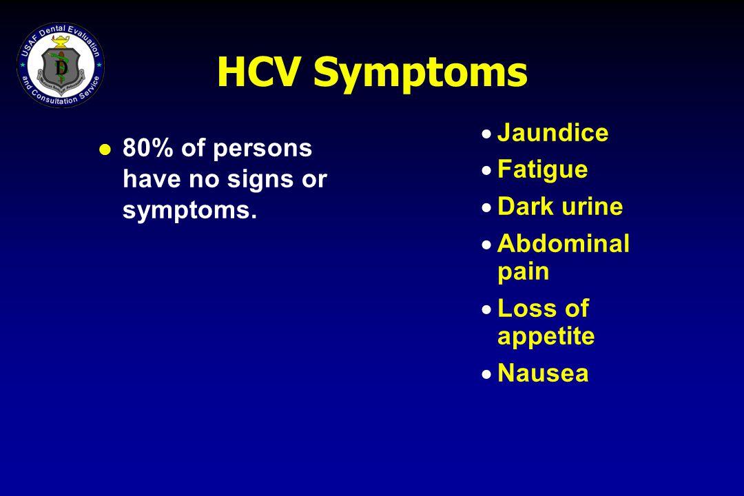 HCV Symptoms 80% of persons have no signs or symptoms.  Jaundice  Fatigue  Dark urine  Abdominal pain  Loss of appetite  Nausea