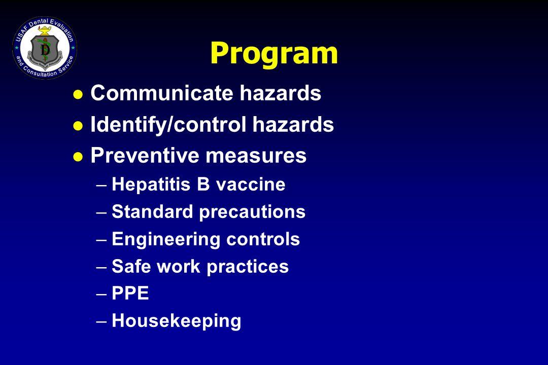 Program l Communicate hazards l Identify/control hazards l Preventive measures –Hepatitis B vaccine –Standard precautions –Engineering controls –Safe