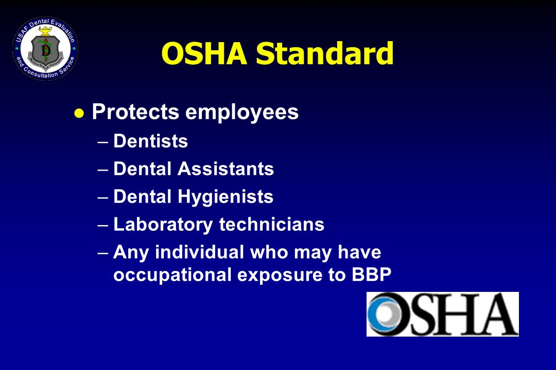 Work Practice Requirements l Wash hands immediately after skin contact with blood/OPIM, and after removing gloves or other PPE.