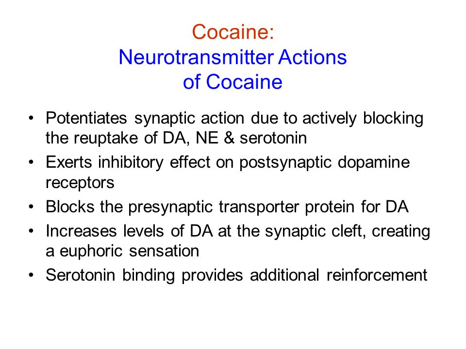 Cocaine: Physiological Effects of Short-term Low- Dose Cocaine Use Low dose is hard to maintain due to increasing tolerance (progressively higher doses needed) Appetite repression See Slide 2: General effects of psychomotor stimulants (increased BP, HR, body temp etc.)