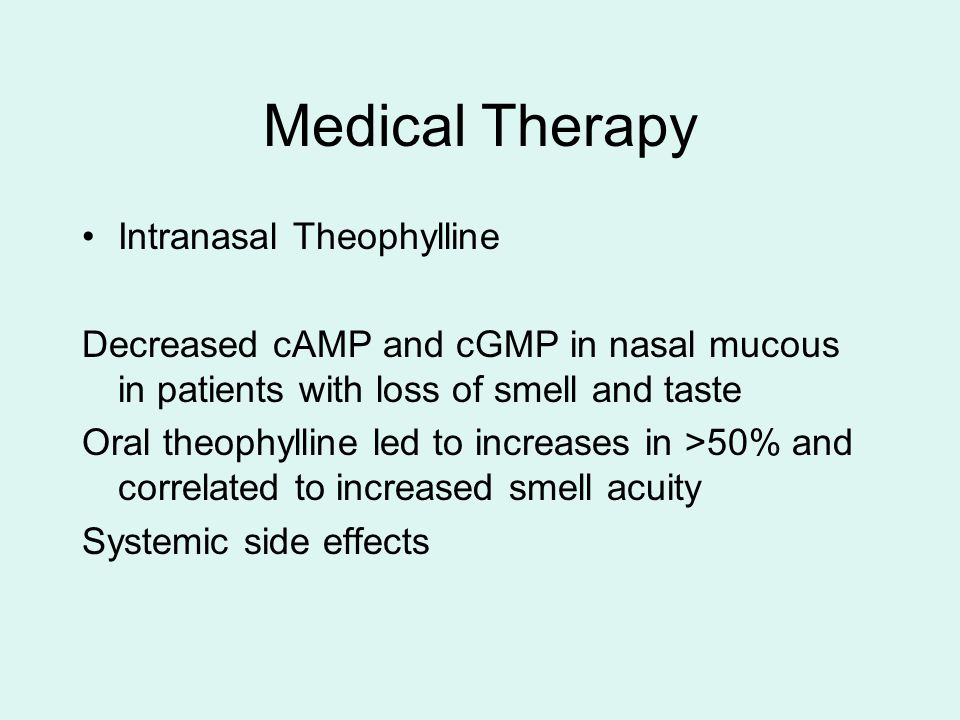 Medical Therapy Intranasal Theophylline Decreased cAMP and cGMP in nasal mucous in patients with loss of smell and taste Oral theophylline led to incr