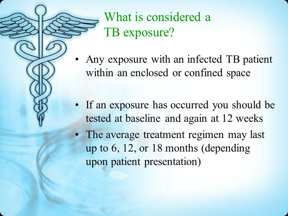 Tuberculosis Bacterial infection that enters the body and establishes itself in the alveoli and spreads throughout the body A healthy immune system will prevent TB infection from becoming TB disease TB can cause permanent body damage and death