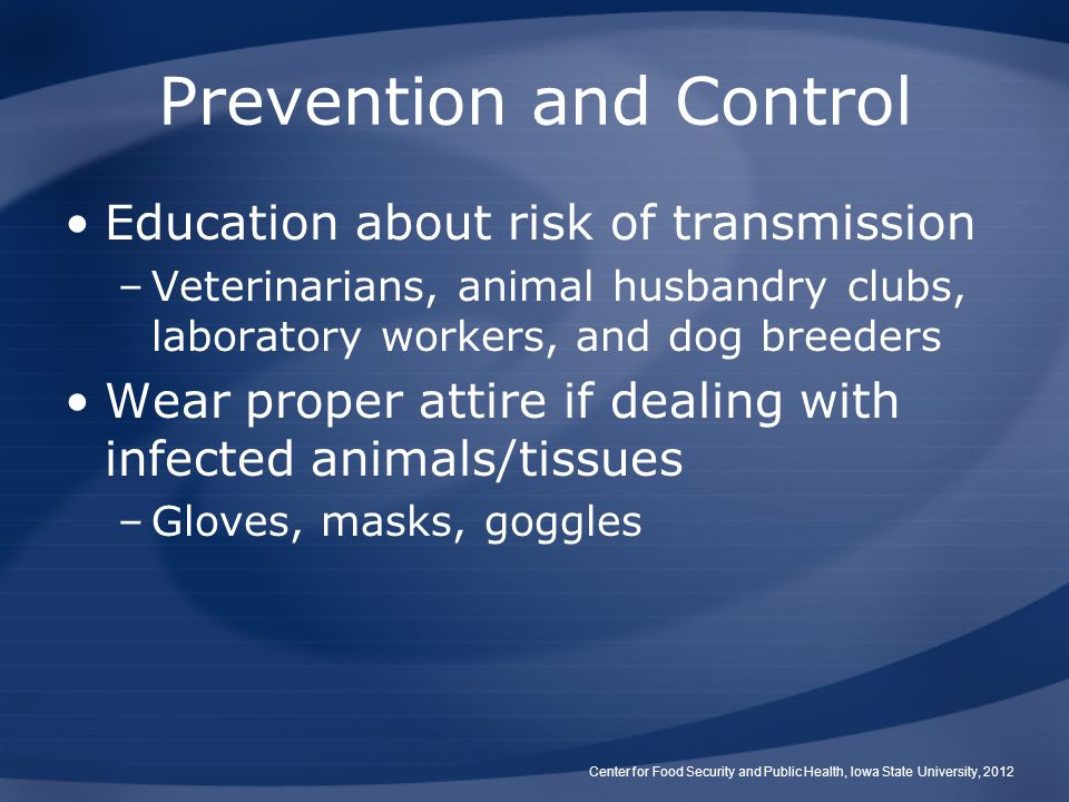 Prevention and Control Education about risk of transmission –Veterinarians, animal husbandry clubs, laboratory workers, and dog breeders Wear proper attire if dealing with infected animals/tissues –Gloves, masks, goggles Center for Food Security and Public Health, Iowa State University, 2012