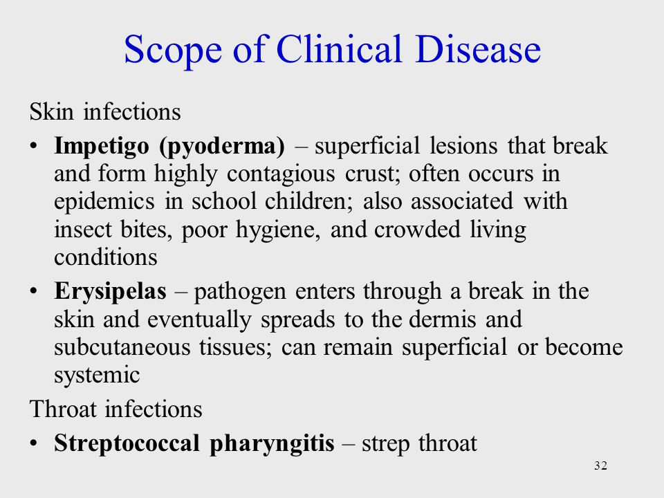 32 Scope of Clinical Disease Skin infections Impetigo (pyoderma) – superficial lesions that break and form highly contagious crust; often occurs in ep