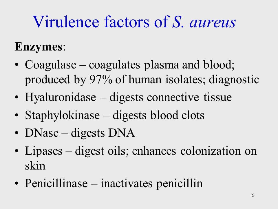 6 Virulence factors of S. aureus Enzymes: Coagulase – coagulates plasma and blood; produced by 97% of human isolates; diagnostic Hyaluronidase – diges