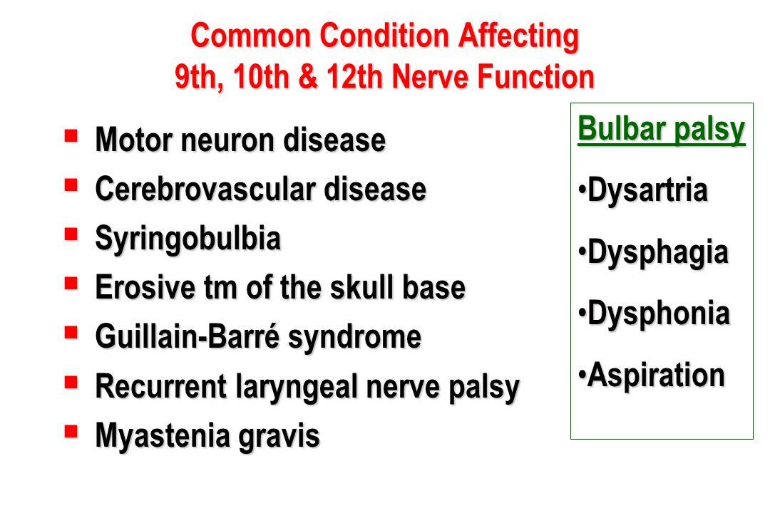 Common Condition Affecting 9th, 10th & 12th Nerve Function  Motor neuron disease  Cerebrovascular disease  Syringobulbia  Erosive tm of the skull