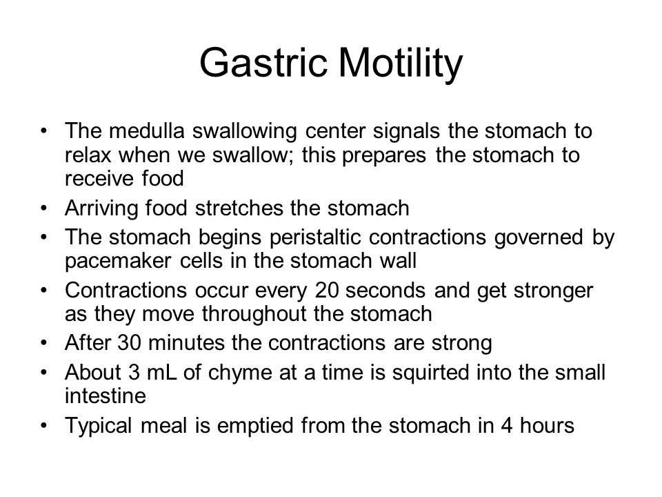 Gastric Motility The medulla swallowing center signals the stomach to relax when we swallow; this prepares the stomach to receive food Arriving food s