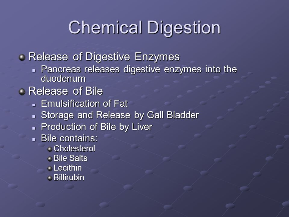 Chemical Digestion Release of Digestive Enzymes Pancreas releases digestive enzymes into the duodenum Pancreas releases digestive enzymes into the duodenum Release of Bile Emulsification of Fat Emulsification of Fat Storage and Release by Gall Bladder Storage and Release by Gall Bladder Production of Bile by Liver Production of Bile by Liver Bile contains: Bile contains:Cholesterol Bile Salts LecithinBillirubin