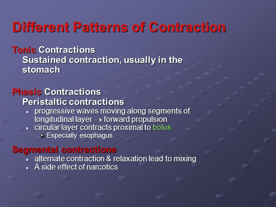Different Patterns of Contraction Tonic Contractions Sustained contraction, usually in the stomach Phasic Contractions Peristaltic contractions progressive waves moving along segments of longitudinal layer  forward propulsion progressive waves moving along segments of longitudinal layer  forward propulsion circular layer contracts proximal to bolus circular layer contracts proximal to bolus Especially esophagus Segmental contractions alternate contraction & relaxation lead to mixing alternate contraction & relaxation lead to mixing A side effect of narcotics A side effect of narcotics