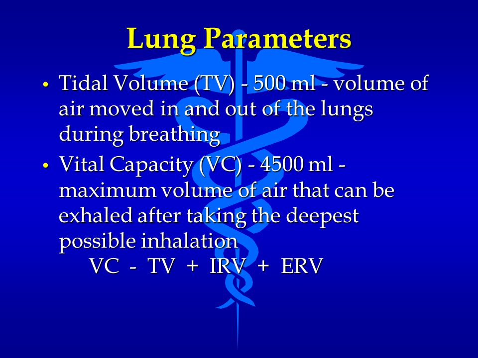 Lung Parameters Tidal Volume (TV) - 500 ml - volume of air moved in and out of the lungs during breathing Tidal Volume (TV) - 500 ml - volume of air m